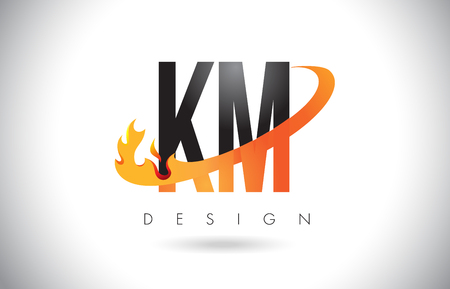 KM K M Letter Logo Design with Fire Flames and Orange Swoosh Vector Illustration.