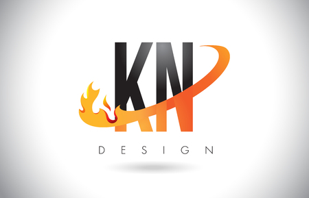 identidad personal: KN K N Letter Logo Design with Fire Flames and Orange Swoosh Vector Illustration.