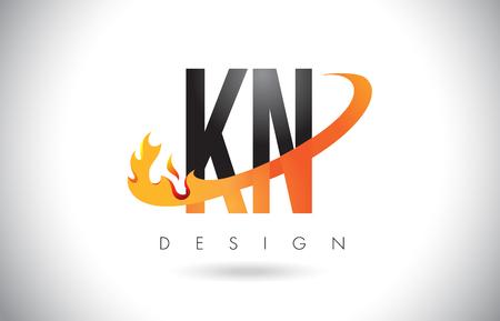 KN K N Letter Logo Design with Fire Flames and Orange Swoosh Vector Illustration.