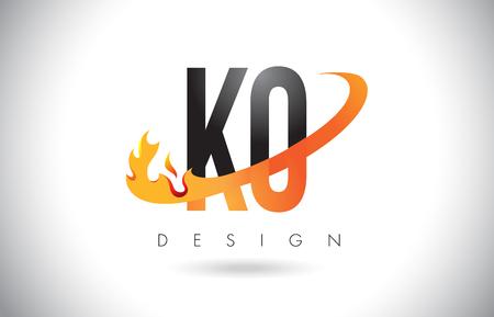 KO KO listu loga projekt z Pożarniczymi płomieniami i Pomarańczową Swoosh wektoru ilustracją. Ilustracje wektorowe