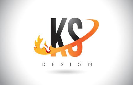 KS K S Letter Logo Design with Fire Flames and Orange Swoosh Vector Illustration. Ilustrace