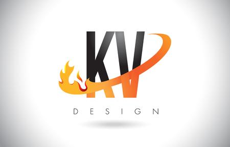 KV K V Letter Logo Design with Fire Flames and Orange Swoosh Vector Illustration.