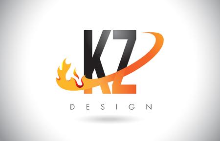 kz: KZ K Z Letter Logo Design with Fire Flames and Orange Swoosh Vector Illustration. Illustration