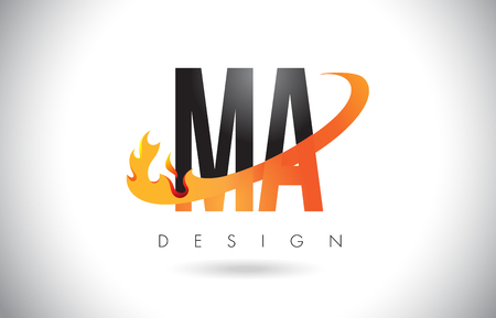 MA M A Letter Logo Design with Fire Flames and Orange Swoosh Vector Illustration.