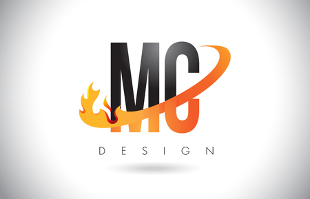 MC M C Letter Logo Design with Fire Flames and Orange Swoosh Vector Illustration.