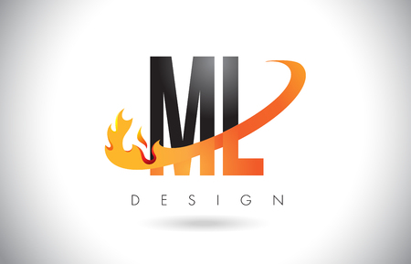 ml: ML M L Letter Logo Design with Fire Flames and Orange Swoosh Vector Illustration. Illustration