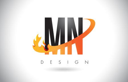 MN M N Letter Logo Design with Fire Flames and Orange Swoosh Vector Illustration.