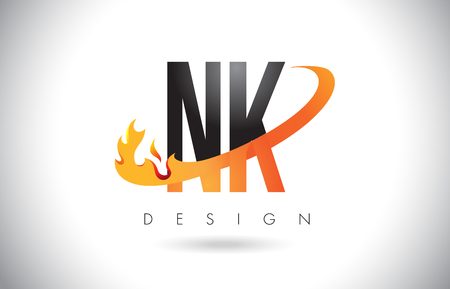 NK N K Letter Logo Design with Fire Flames and Orange Swoosh Vector Illustration.
