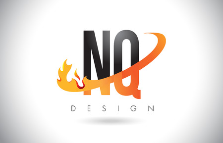 NQ N Q Letter Logo Design with Fire Flames and Orange Swoosh Vector Illustration.