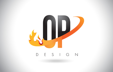 OP O P Letter Logo Design with Fire Flames and Orange Swoosh Vector Illustration. Ilustração