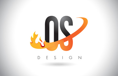 os: OS O S Letter Logo Design with Fire Flames and Orange Swoosh Vector Illustration.