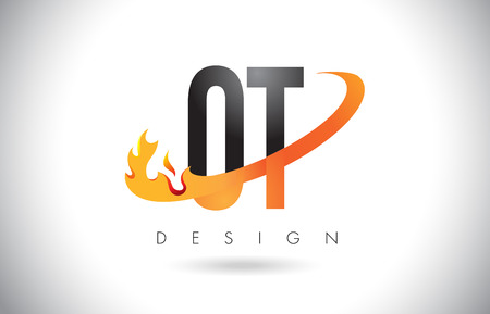 OT O T Letter Logo Design with Fire Flames and Orange Swoosh Vector Illustration.