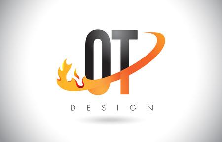 OT O T Letter Logo Design with Fire Flames and Orange Swoosh Vector Illustration.