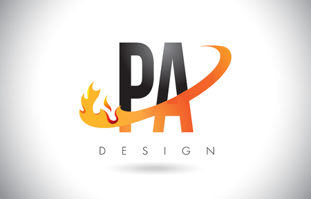 PA P A Letter Logo Design with Fire Flames and Orange Swoosh Vector Illustration.