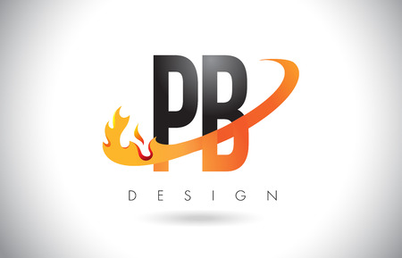 PB P B Letter Logo Design with Fire Flames and Orange Swoosh Vector Illustration.