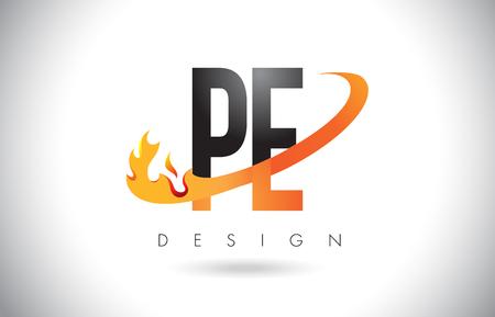 e business: PE P E Letter Logo Design with Fire Flames and Orange Swoosh Vector Illustration.