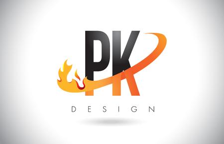 PK P K Letter Logo Design with Fire Flames and Orange Swoosh Vector Illustration. Logó