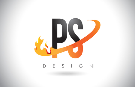 PS P S Letter Logo Design with Fire Flames and Orange Swoosh Vector Illustration.
