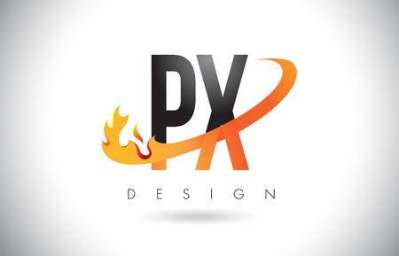 PX P X Letter Logo Design with Fire Flames and Orange Swoosh Vector Illustration. Ilustração