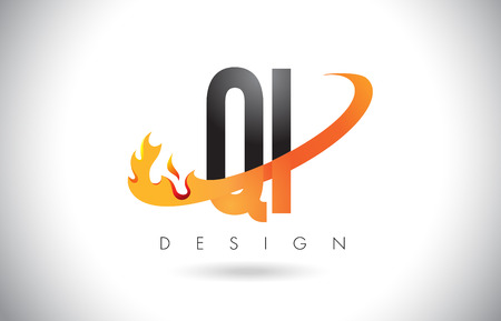 QI Q I Letter Logo Design with Fire Flames and Orange Swoosh Vector Illustration. Illustration