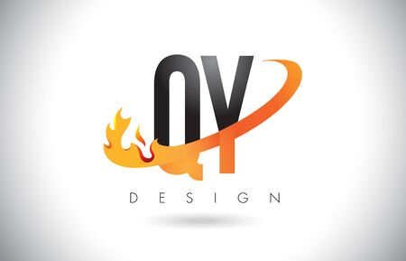 QY Q Y Letter Logo Design with Fire Flames and Orange Swoosh Vector Illustration. Illustration