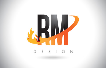 RM R M Letter Logo Design with Fire Flames and Orange Swoosh Vector Illustration.