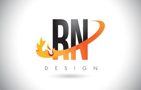 rn: RN R N Letter Logo Design with Fire Flames and Orange Swoosh Vector Illustration.
