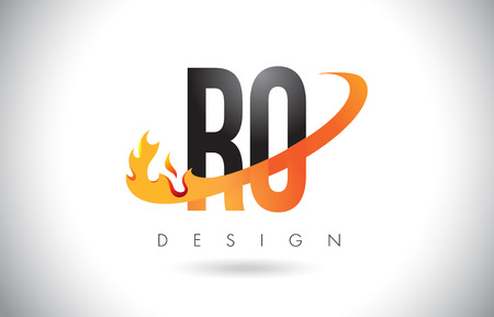 RO R O Letter Logo Design with Fire Flames and Orange Swoosh Vector Illustration.
