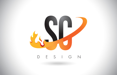SC S C Letter Logo Design with Fire Flames and Orange Swoosh Vector Illustration.