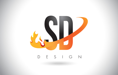 SD S D Letter Logo Design with Fire Flames and Orange Swoosh Vector Illustration.