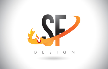SF S F Letter Logo Design with Fire Flames and Orange Swoosh Vector Illustration.