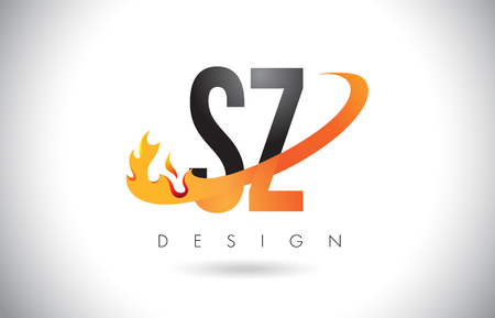 SZ S Z Letter Logo Design with Fire Flames and Orange Swoosh Vector Illustration.