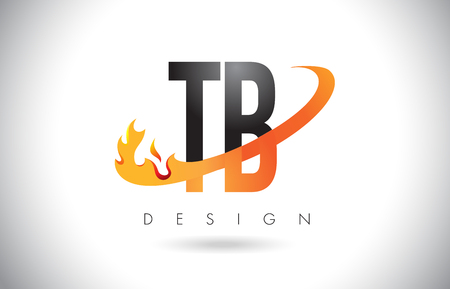 TB T B Letter Logo Design with Fire Flames and Orange Swoosh Vector Illustration.