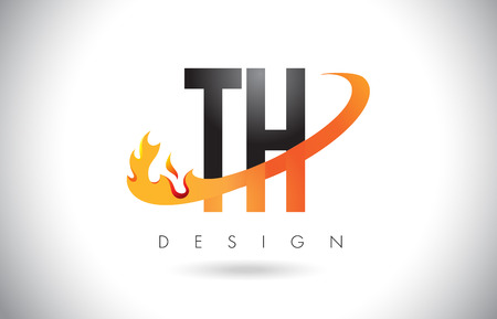 TH T H Letter Logo Design with Fire Flames and Orange Swoosh Vector Illustration. Illustration