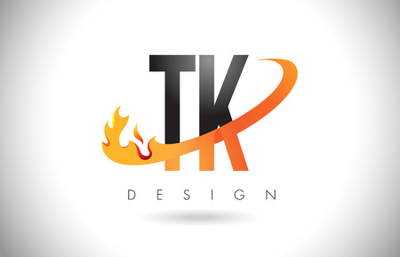 TK T K Letter Logo Design with Fire Flames and Orange Swoosh Vector Illustration.