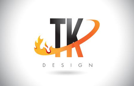 TK T K Letter Logo Design with Fire Flames and Orange Swoosh Vector Illustration. Logó