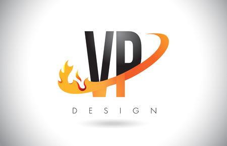 vp: VP V P Letter Logo Design with Fire Flames and Orange Swoosh Vector Illustration.