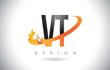 VT V T Letter Logo Design with Fire Flames and Orange Swoosh Vector Illustration.