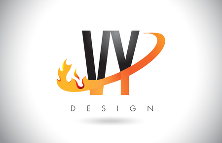 VY V Y Letter Logo Design with Fire Flames and Orange Swoosh Vector Illustration.