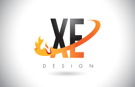 XE X E Letter Logo Design with Fire Flames and Orange Swoosh Vector Illustration.