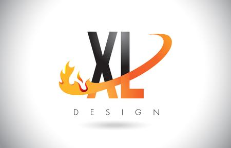 XL X L Letter Logo Design with Fire Flames and Orange Swoosh Vector Illustration. Illustration