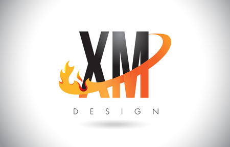 xm: XM X M Letter Logo Design with Fire Flames and Orange Swoosh Vector Illustration.