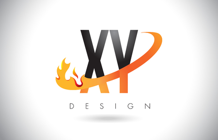 xy: XY X Y Letter Logo Design with Fire Flames and Orange Swoosh Vector Illustration.