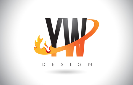 YW Y W Letter Logo Design with Fire Flames and Orange Swoosh Vector Illustration.