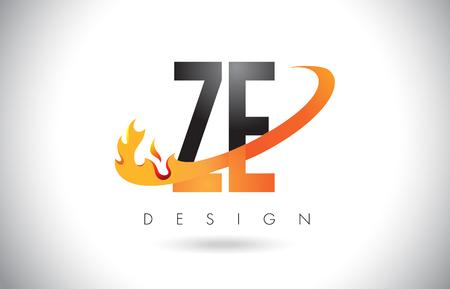 ZE ZE Buchstabe Logo Design mit Feuer Flammen und Orange Swoosh Vektor Illustration.