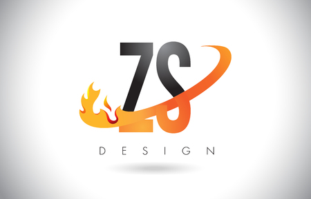 ZS Z S Letter Logo Design with Fire Flames and Orange Swoosh Vector Illustration.