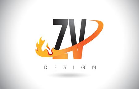 ZV Z V Letter Logo Design with Fire Flames and Orange Swoosh Vector Illustration.