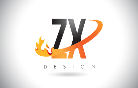 ZX Z X Letter Logo Design with Fire Flames and Orange Swoosh Vector Illustration. Illustration