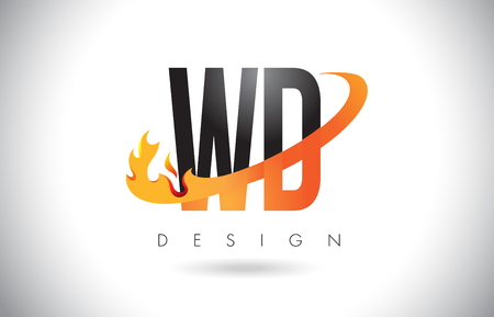 WD W D Letter Logo Design with Fire Flames and Orange Swoosh Vector Illustration.