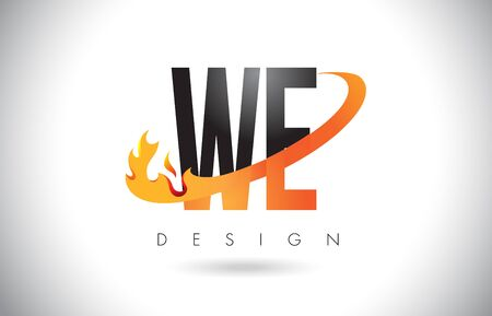 e business: WE W E Letter Logo Design with Fire Flames and Orange Swoosh Vector Illustration.
